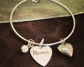 Mama Bracelet // Mother's Day Bangle // Silver Locket