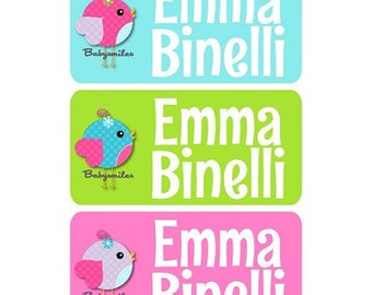 CLOTHING TAG Labels Clothing Label Laundry Safe Peel and Stick Laundry Care Tag Labels Daycare Label Uniform Labels - Sweet Birds