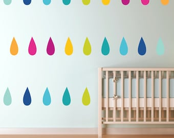 Colorful Drops - Mod Rainbow - Custom Printed Wall Decals