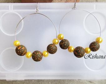Big round earrings polymer clay jewelry / ethnic look earrings / big boho earrings / yellow