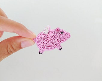 Polymer clay pig jewelry Pink pig brooch pin Flying pig necklace Pig magnet Pig lover gift Pig lover gift Polymer clay animal necklace