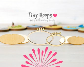 DIY Mini Embroidery Hoop Kits - Pack of 2 - 45mm x 27mm & 62mm x 34mm - DIY Mini Oval Hoop Kits - Necklace Mini Oval Hoop Kit - Brooch Kit