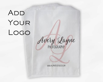 Custom Logo Merchandise Bags - Business Event Customized Favor Bags for Candy Buffet - 25 Paper Treat Bags (0010)
