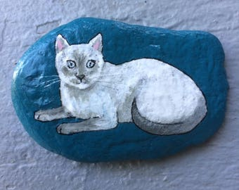 Blue siamese painted rock