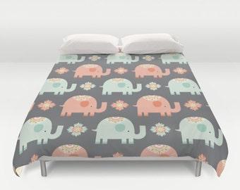 Elephant Duvet Cover, Elephants Duvet, Elephant Bedding, Elephant Bedroom, Elephant Comforter, Mammoth, Kids Comforter, Childs Duvet, girl