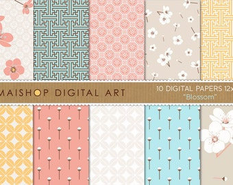 Digital Paper 'Blossom' Floral, Geometric Chinese Printable Patterns Instant Download for Scrapbooking, Decoupage, Crafts, Invitations...