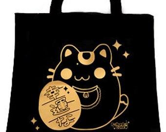 Gold Maneki Neko Tote Bag