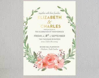GOLD FOIL Letterpress Wedding Invitations with Floral Watercolor | Rose Gold Invitations | Spring Street Suite | SAMPLE