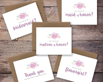 Printable Will You Be My Card Set - Be My Bridesmaid, Maid of Honor, Matron of Honor, Instant Download Greeting Card - Wedding Card -Larson