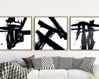 Triptych Wall Art, Abstract Art, Set of 3 Prints, Black And White Prints, Minimalist Prints, Giclee Print, Home Decor, Wall Decor