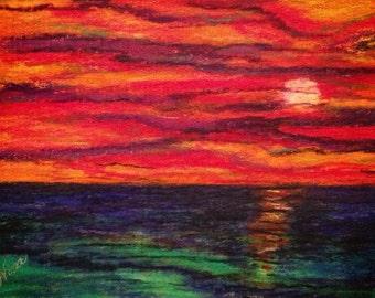 Pastel sunset sunrise canvas board 12 in. x 9 in. ocean beach water