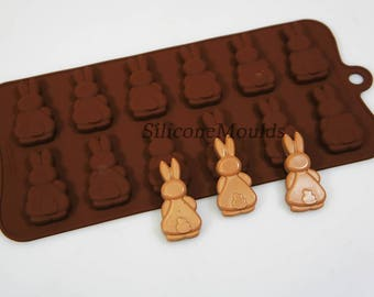 Bunny Butts Rabbits Easter Professional Silicone Chocolate / Candy Bakeware Mould for Cupcake Toppers, Wax Melts, Resin, Decorations, Bars
