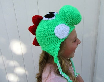 Green Yoshi Inspired Hat-Sized for Child