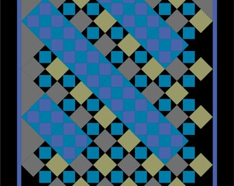 Modern, full bed quilt PDF pattern - Back to Amish