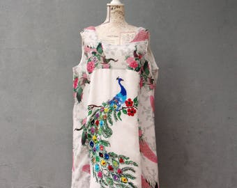 Peacock Dress Vintage Embroidery Linen Birds and Flowers Plus size US size 14/16 EU size 44/46