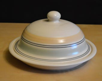 Pfaltzgraff KEY LARGO Round Butter Dish with Lid, Cheese Plate Cloche, Yellow Green Gray Bands on Cream, Knob Handle