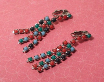 Vintage Multi Color Dangle Drop Clip Earrings