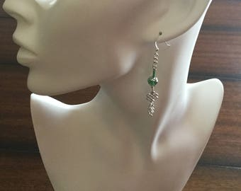 Broken chain earrings, green and chain earrings, great gift earrings