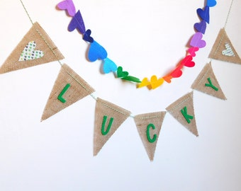 LUCKY Shamrocks Burlap Banner and Rainbow Felt Heart Garland
