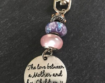 The Between a Mother Daughter  Beaded Key Fob