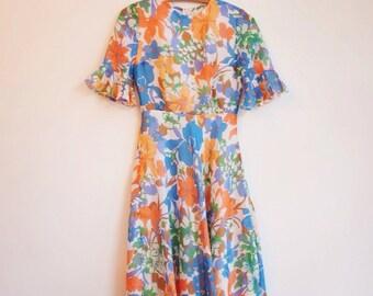 Vintage floral summer boho hippie gucci style dressS