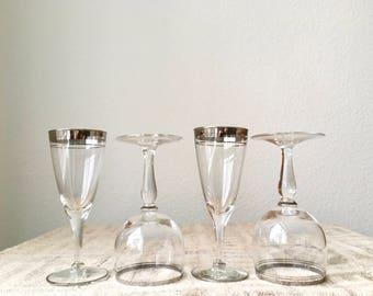 Vintage Silver Rimmed Striped Cordial Cocktail Glasses, Set of 4
