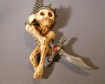 Skeleton King and Swords Necklace, earrings, coffin box  SpookyCuteTeam, paganteam,OlympiaEtsy, WWWG, Halloween24/7, FunkyAlternativeJewelry