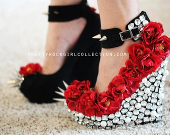 Floral Rhinestone Studded Spike Suede Wedge Shoes with Thick Straps, Wedding shoes, Flower shoes, Unique shoe Designs