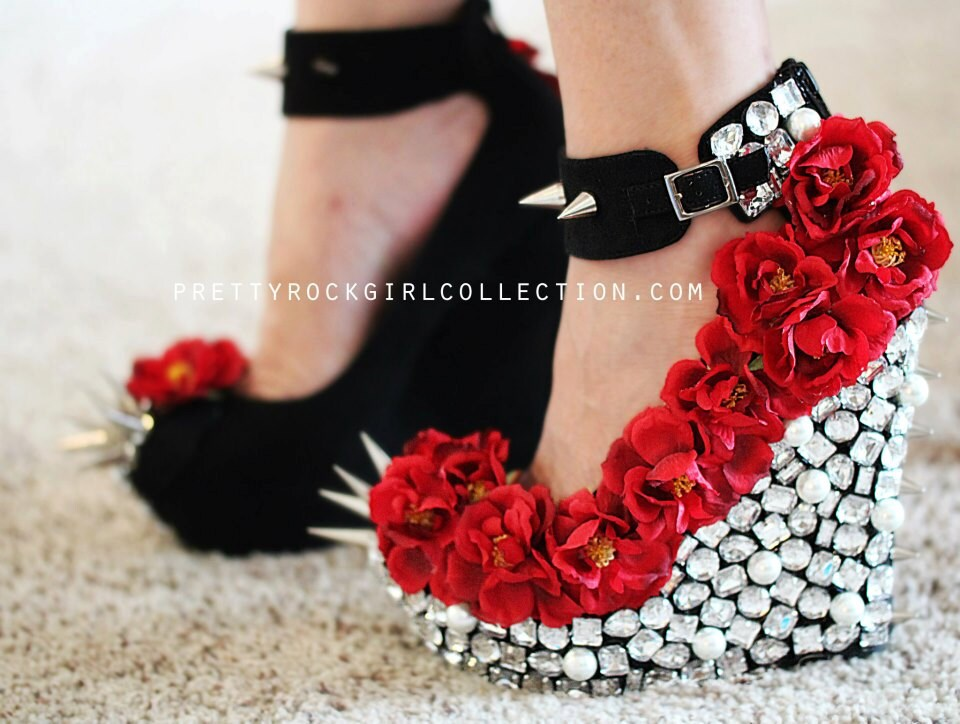 Red wedge heels with spikes