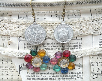 mismatched earrings religious assemblage earrings catholic medal upcycled vintage jewelry rustic blessings