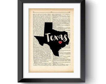 Texas state map print-custom state map print-Texas dictionary print-Texas wall art-traveler gift-home decor-office decor-NATURA PICTA-DP139