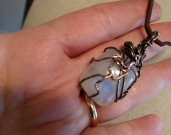 Copper wire wrapped moonstone pendant necklace