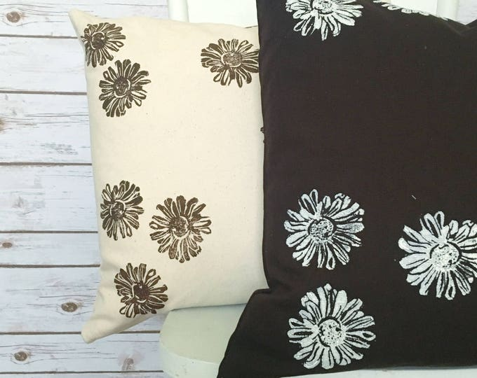 Set of two organic canvas pillow covers - Heliopsis in brown and cream