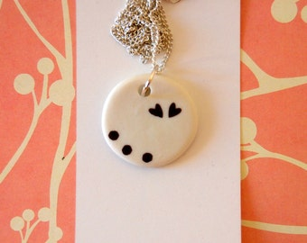 Heart jewelry Heart necklace Porcelain necklace Porcelain jewelry Modern jewelry White necklace One of a kind necklace Porcelain pendant