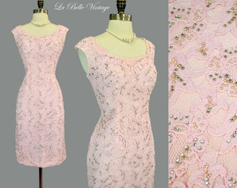 Heavily Beaded Party Dress S Vintage 60s Pink Lace Rhinestone Pearls ~ Makoff