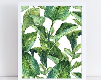 Plant Print, Botanical Wall Decor, Watercolor Flowers, Large Wall Art, Instant Download, Tropical Leaf, Plant Illustration, Botanical Poster
