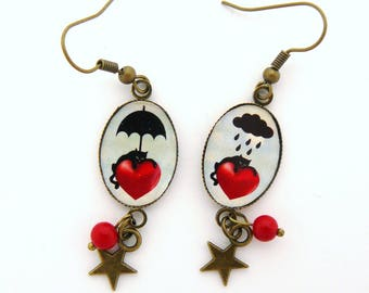 "Earrings cabochon ""Dog cat time"""