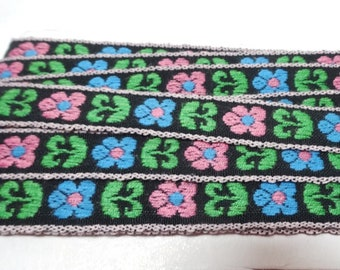 Woven Braid Trim, 4 Yard Cut in Pink, Blue, Green Flowers on Black, 1/2 Inch Wide, Vintage 1970s Home Sewing Notions, Dress, Blouse, Crafts