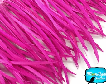 Spiky Feather, 1 YARD - HOT PINK Goose Biots Feather Trim : 3364