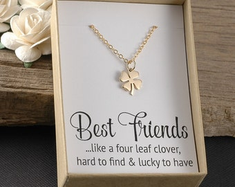 Best Friends necklace, four leaf clover necklace, like a four leaf clover, hard to find & lucky to have, friends jewelry, gift boxed card