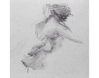 Figure - 5.5 x 5.5, graphite/wash on paper