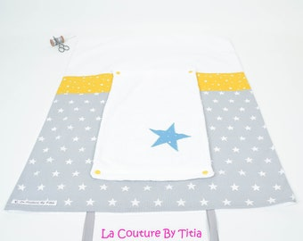 Cover mattress changing towel hand made grey, mustard yellow and teal stars @lacouturebytitia