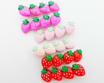 Hand-painted Strawberry Hair Clip - Decora Kei Hair Accessory - Kawaii Hair Clip - Set of 2