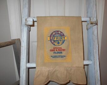Primitive towel, flour sack towel, fairy towel, feed sack towel, farm house decor, primitive decor, country kitchen, tea towel