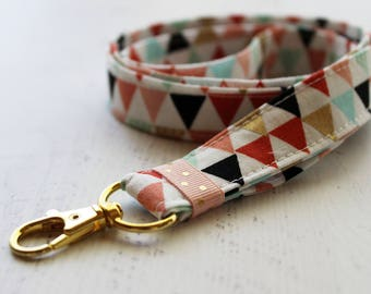 Coral and gold fabric lanyard - ID lanyard - lanyard - ID holder - key lanyard - teachers lanyard - Work ID lanyard - lanyards