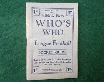 Vintage Soccer Memorabilia 1929 Guide to Football League Clubs and Players Published by Athletic News