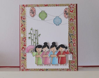 Japanese card - Good luck card - Blank double greeting card - Hand colored - Main card color is red