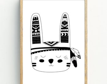 Monochrome Tribal Bunny Print - Nursery Print - Kids Room Wall Art - A4 Print Print - Monochrome - Black & White - Tribal Bunny