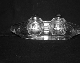 Vintage 1940s Clear Glass Salt and Pepper Shakers on Tray