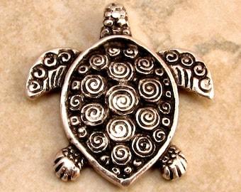 Mykonos Casting Turtle Pendant, Antique Silver M140